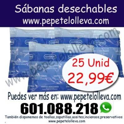 25 Sábanas ajustables de camilla 23,20€  Envío a toda España